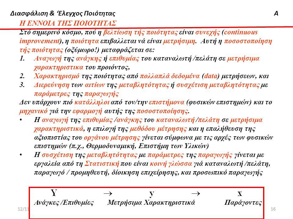 Διασφάλιση & 'Ελεγχος ΠοιότηταςΑ 12/11/2012Δημήτρης Χατζηαβραμίδης16 Η ΕΝΝΟΙΑ ΤΗΣ ΠΟΙΟΤΗΤΑΣ Στό σημερινό κόσμο, πού η βελτίωση τής ποιότητας είναι συν