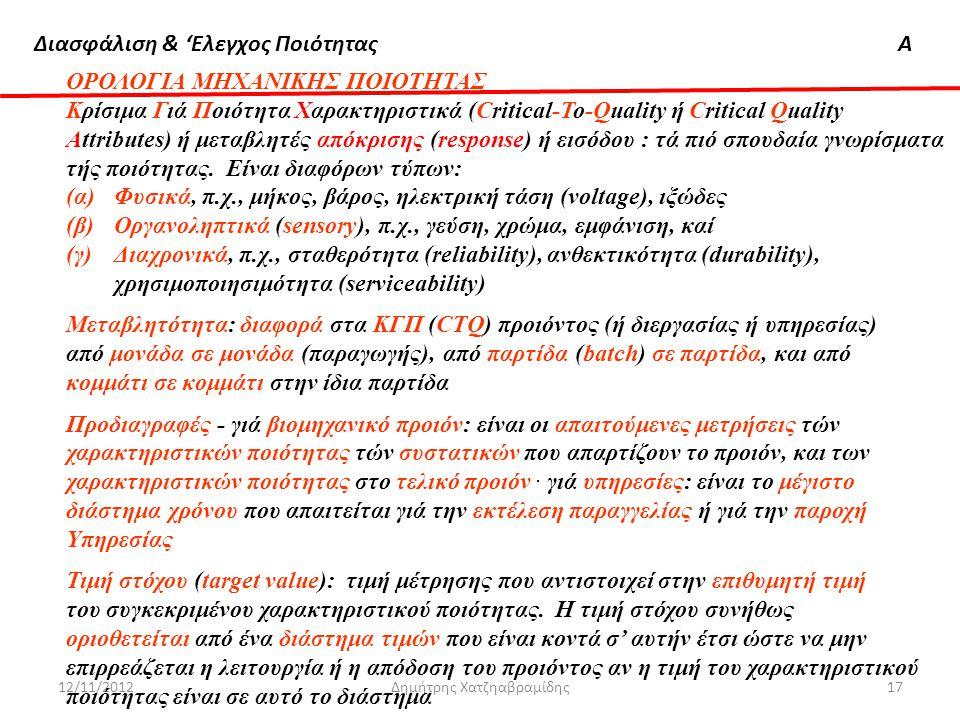 Διασφάλιση & 'Ελεγχος ΠοιότηταςΑ 12/11/2012Δημήτρης Χατζηαβραμίδης17 ΟΡΟΛΟΓΙΑ ΜΗΧΑΝΙΚΗΣ ΠΟΙΟΤΗΤΑΣ Κρίσιμα Γιά Ποιότητα Xαρακτηριστικά (Critical-To-Qua
