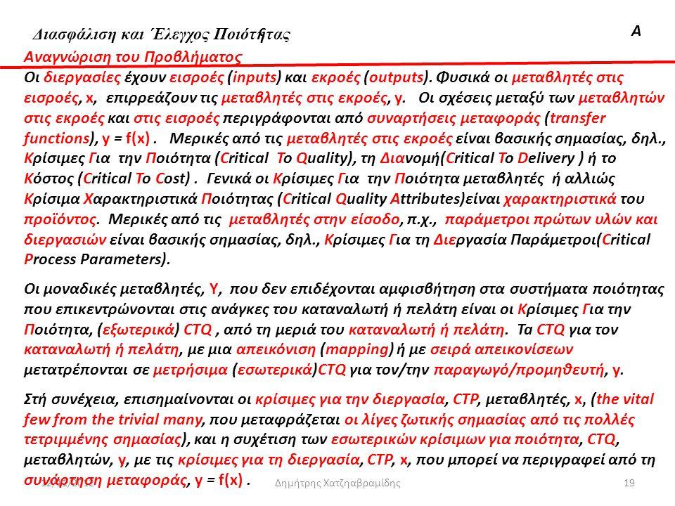Διασφάλιση & 'Ελεγχος ΠοιότηταςΑ 12/11/2012Δημήτρης Χατζηαβραμίδης19 Αναγνώριση του Προβλήματο ς Οι διεργασίες έχουν εισροές (inputs) και εκροές (outp
