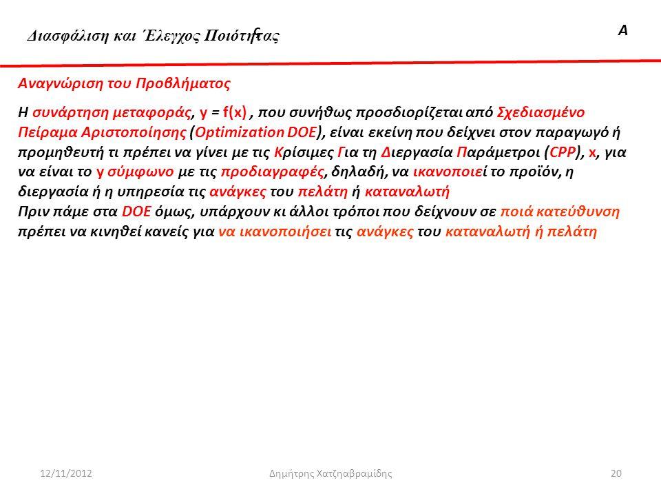 Διασφάλιση & 'Ελεγχος ΠοιότηταςΑ 12/11/2012Δημήτρης Χατζηαβραμίδης20 Αναγνώριση του Προβλήματος Η συνάρτηση μεταφοράς, y = f(x), που συνήθως προσδιορί