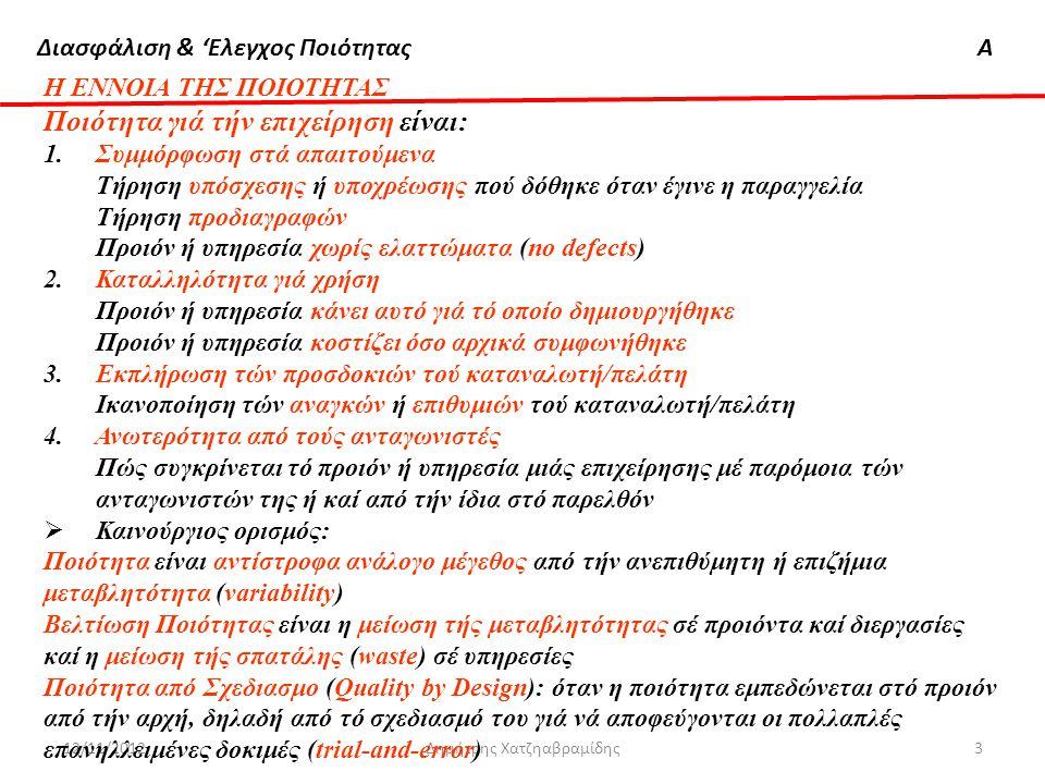 Διασφάλιση & 'Ελεγχος ΠοιότηταςΑ 12/11/2012Δημήτρης Χατζηαβραμίδης3 Η ΕΝΝΟΙΑ ΤΗΣ ΠΟΙΟΤΗΤΑΣ Ποιότητα γιά τήν επιχείρηση είναι: 1.Συμμόρφωση στά απαιτού