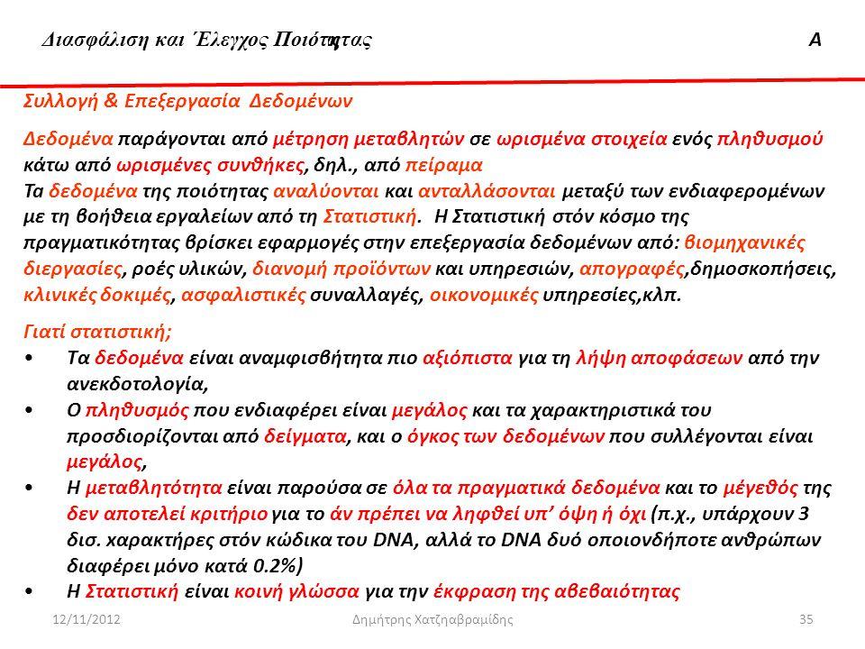 Διασφάλιση & 'Ελεγχος ΠοιότηταςΑ 12/11/2012Δημήτρης Χατζηαβραμίδης35 Συλλογή & Επεξεργασία Δεδομένων Δεδομένα παράγονται από μέτρηση μεταβλητών σε ωρι