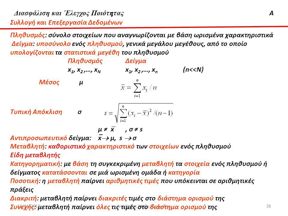 Διασφάλιση & 'Ελεγχος ΠοιότηταςΑ 12/11/2012Δημήτρης Χατζηαβραμίδης38 Συλλογή και Επεξεργασία Δεδομένων Πληθυσμός: σύνολο στοιχείων που αναγνωρίζονται