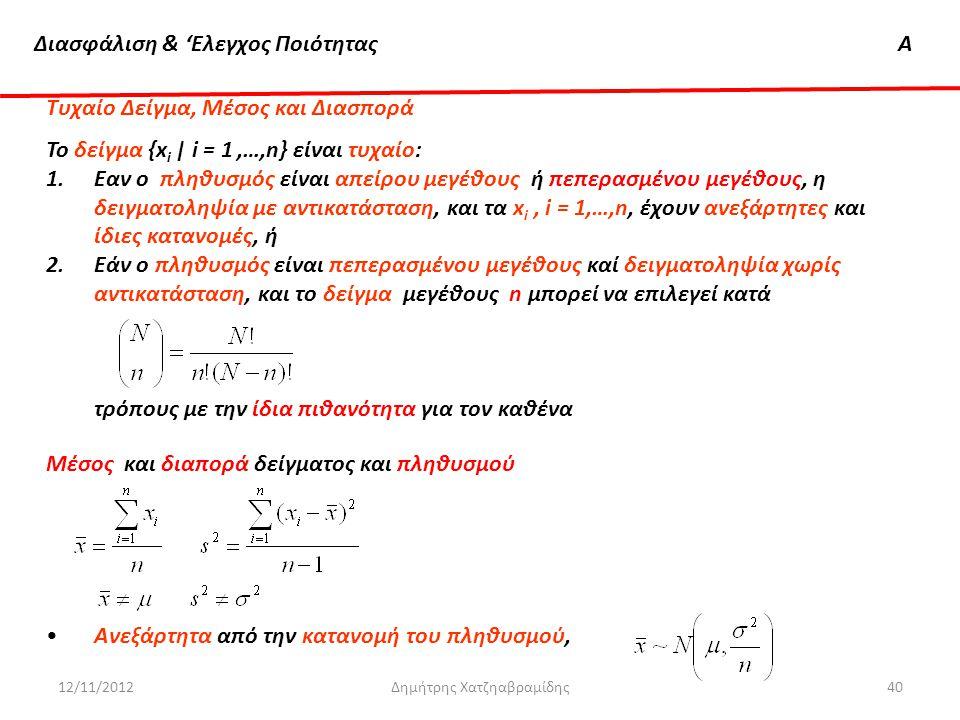 Διασφάλιση & 'Ελεγχος ΠοιότηταςΑ 12/11/2012Δημήτρης Χατζηαβραμίδης40 Τυχαίο Δείγμα, Μέσος και Διασπορά Το δείγμα {x i | i = 1,…,n} είναι τυχαίο: 1.Eαν