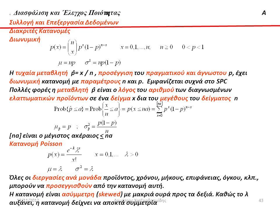 Διασφάλιση & 'Ελεγχος ΠοιότηταςΑ 12/11/2012Δημήτρης Χατζηαβραμίδης43 Συλλογή και Επεξεργασία Δεδομένων Διακριτές Κατανομές Διωνυμική Η τυχαία μεταβλητ