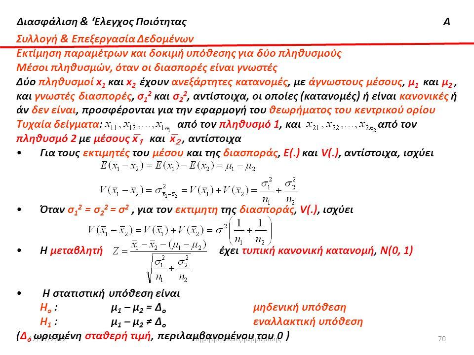 Διασφάλιση & 'Ελεγχος ΠοιότηταςΑ 12/11/2012Δημήτρης Χατζηαβραμίδης70 Συλλογή & Επεξεργασία Δεδομένων Εκτίμηση παραμέτρων και δοκιμή υπόθεσης για δύο π