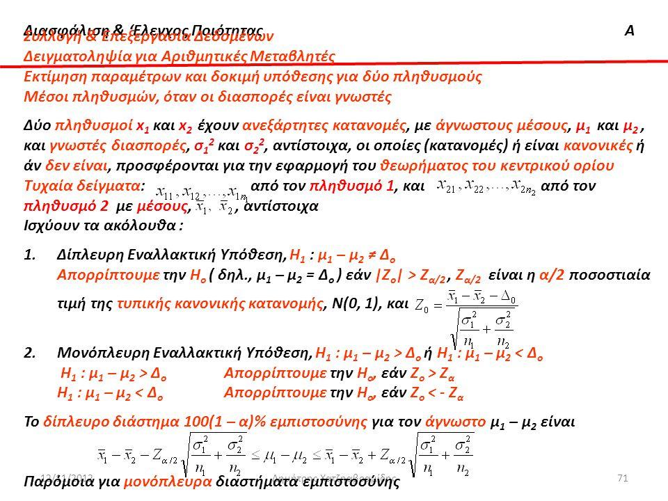 Διασφάλιση & 'Ελεγχος ΠοιότηταςΑ 12/11/2012Δημήτρης Χατζηαβραμίδης71 Συλλογή & Επεξεργασία Δεδομένων Δειγματοληψία για Αριθμητικές Μεταβλητές Εκτίμηση