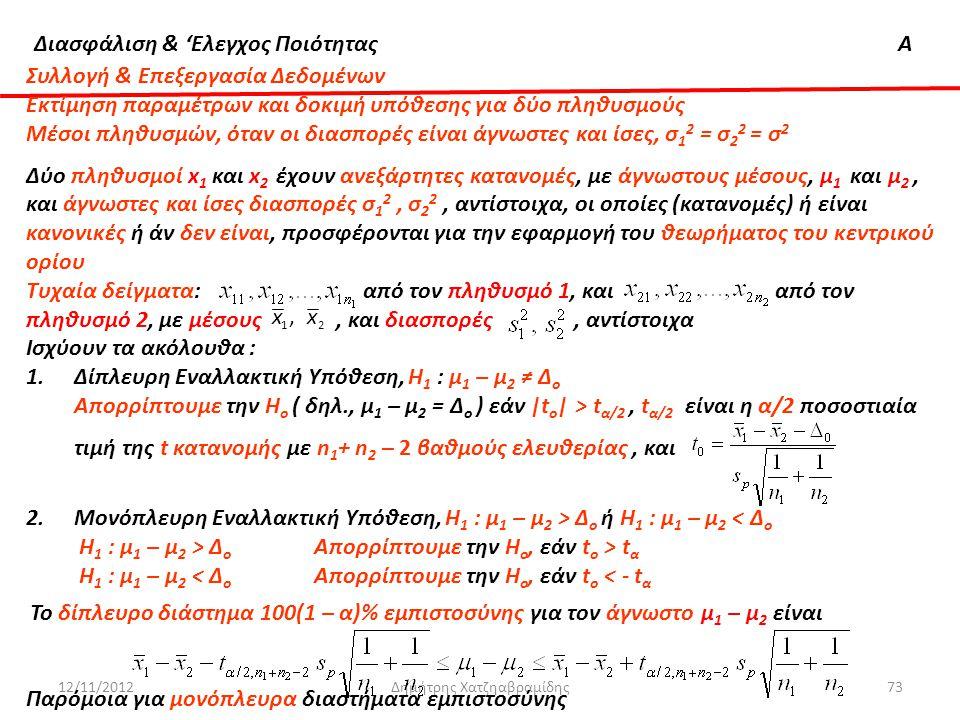Διασφάλιση & 'Ελεγχος ΠοιότηταςΑ 12/11/2012Δημήτρης Χατζηαβραμίδης73 Συλλογή & Επεξεργασία Δεδομένων Εκτίμηση παραμέτρων και δοκιμή υπόθεσης για δύο π