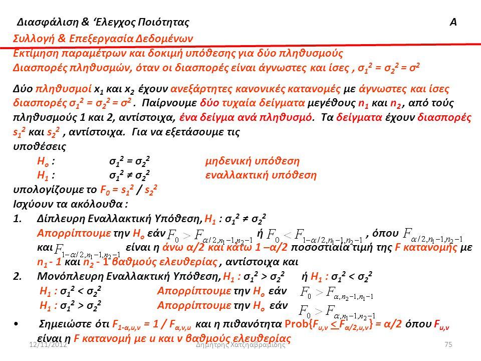 Διασφάλιση & 'Ελεγχος ΠοιότηταςΑ 12/11/2012Δημήτρης Χατζηαβραμίδης75 Συλλογή & Επεξεργασία Δεδομένων Εκτίμηση παραμέτρων και δοκιμή υπόθεσης για δύο π