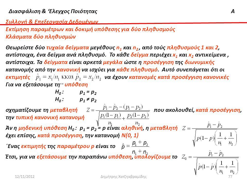 Διασφάλιση & 'Ελεγχος ΠοιότηταςΑ 12/11/2012Δημήτρης Χατζηαβραμίδης77 Συλλογή & Επεξεργασία Δεδομένων Εκτίμηση παραμέτρων και δοκιμή υπόθεσης για δύο π