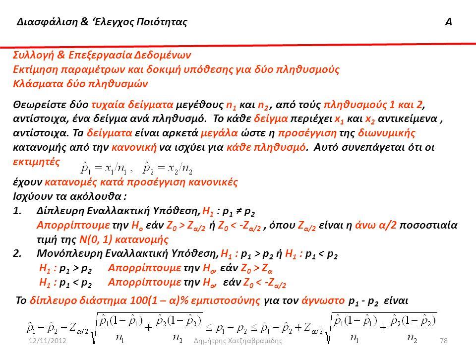 Διασφάλιση & 'Ελεγχος ΠοιότηταςΑ 12/11/2012Δημήτρης Χατζηαβραμίδης78 Συλλογή & Επεξεργασία Δεδομένων Εκτίμηση παραμέτρων και δοκιμή υπόθεσης για δύο π