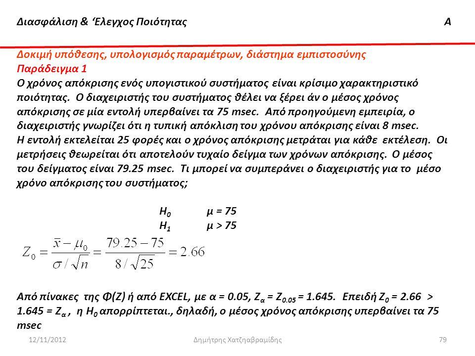 Διασφάλιση & 'Ελεγχος ΠοιότηταςΑ 12/11/2012Δημήτρης Χατζηαβραμίδης79 Δοκιμή υπόθεσης, υπολογισμός παραμέτρων, διάστημα εμπιστοσύνης Παράδειγμα 1 O χρό