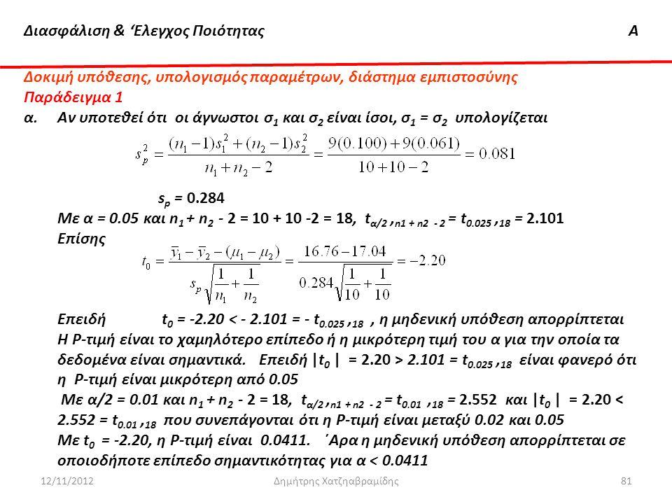 Διασφάλιση & 'Ελεγχος ΠοιότηταςΑ 12/11/2012Δημήτρης Χατζηαβραμίδης81 Δοκιμή υπόθεσης, υπολογισμός παραμέτρων, διάστημα εμπιστοσύνης Παράδειγμα 1 α. Αν