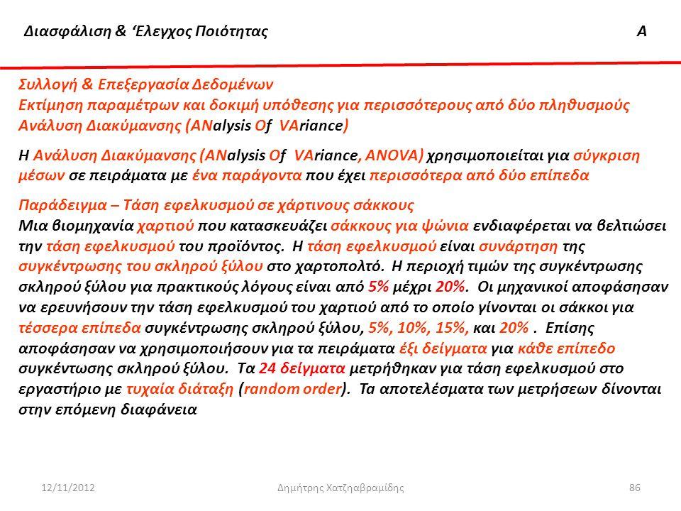 Διασφάλιση & 'Ελεγχος ΠοιότηταςΑ 12/11/2012Δημήτρης Χατζηαβραμίδης86 Συλλογή & Επεξεργασία Δεδομένων Εκτίμηση παραμέτρων και δοκιμή υπόθεσης για περισ