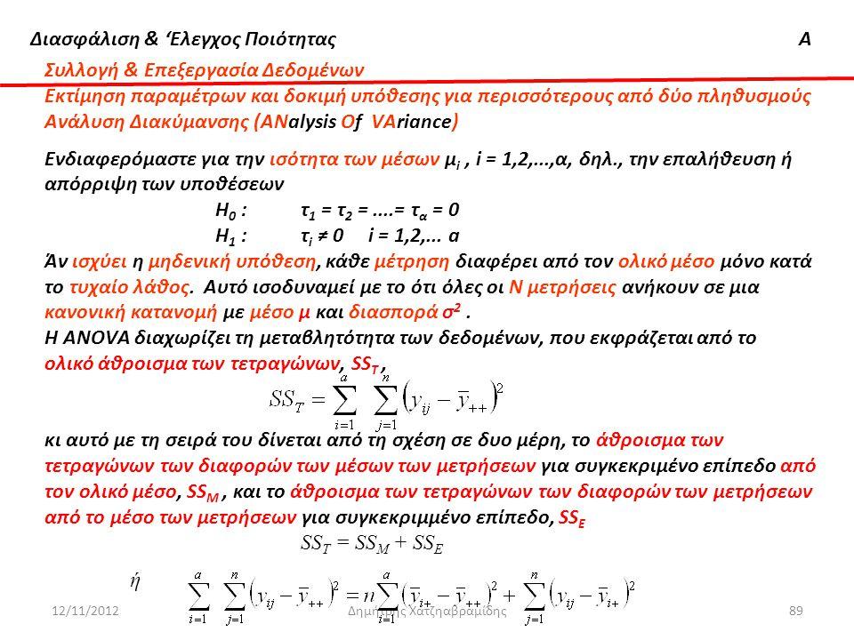 Διασφάλιση & 'Ελεγχος ΠοιότηταςΑ 12/11/2012Δημήτρης Χατζηαβραμίδης89 Συλλογή & Επεξεργασία Δεδομένων Εκτίμηση παραμέτρων και δοκιμή υπόθεσης για περισ