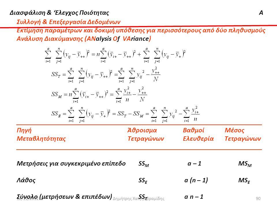 Διασφάλιση & 'Ελεγχος ΠοιότηταςΑ 12/11/2012Δημήτρης Χατζηαβραμίδης90 Συλλογή & Επεξεργασία Δεδομένων Εκτίμηση παραμέτρων και δοκιμή υπόθεσης για περισ