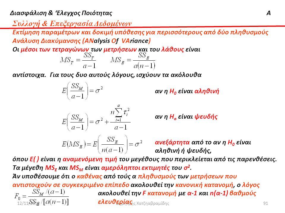 Διασφάλιση & 'Ελεγχος ΠοιότηταςΑ 12/11/2012Δημήτρης Χατζηαβραμίδης91 Συλλογή & Επεξεργασία Δεδομένων Εκτίμηση παραμέτρων και δοκιμή υπόθεσης για περισ