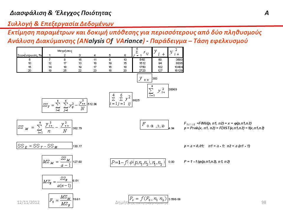 Διασφάλιση & 'Ελεγχος ΠοιότηταςΑ 12/11/2012Δημήτρης Χατζηαβραμίδης98 Συλλογή & Επεξεργασία Δεδομένων Εκτίμηση παραμέτρων και δοκιμή υπόθεσης για περισ