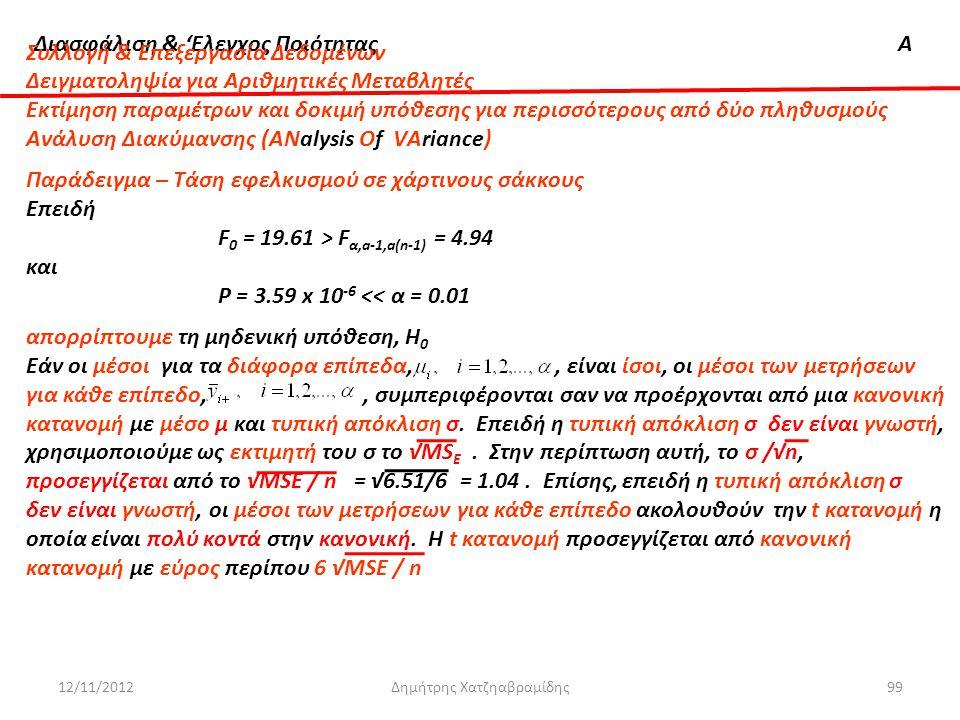 Διασφάλιση & 'Ελεγχος ΠοιότηταςΑ 12/11/2012Δημήτρης Χατζηαβραμίδης99 Συλλογή & Επεξεργασία Δεδομένων Δειγματοληψία για Αριθμητικές Μεταβλητές Εκτίμηση