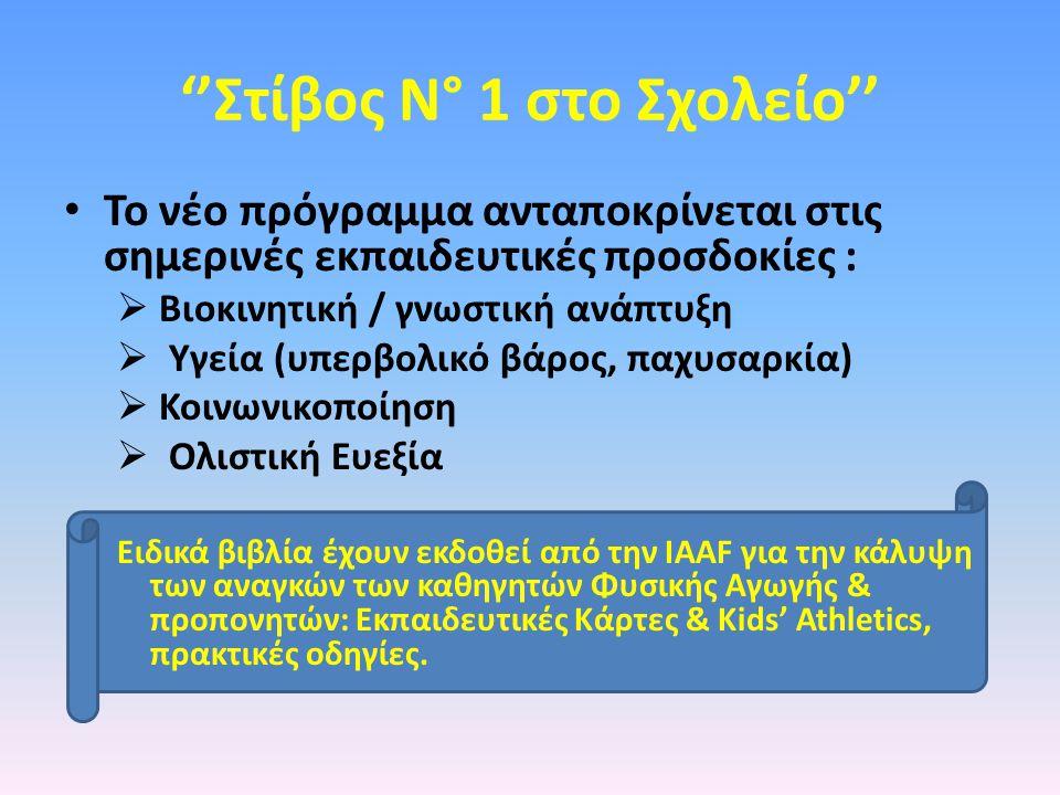 IAAF Shool & Youth Programme Τα χαρακτηριστικά του Προγράμματος - Προοδευτικό - Απλό - Εφικτό