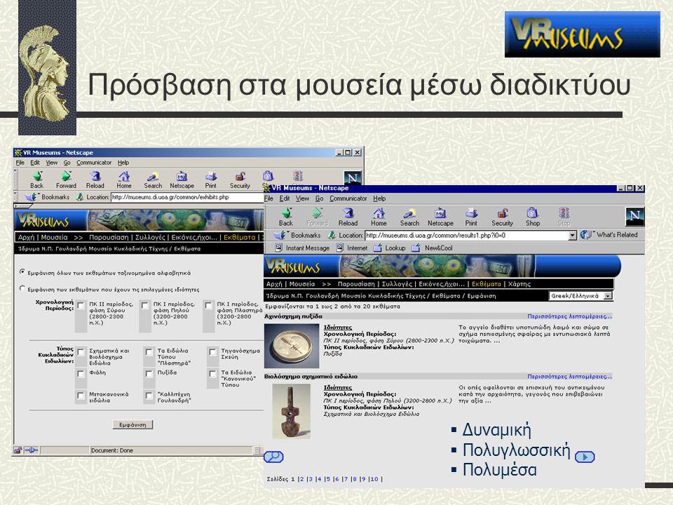 Πρόσβαση στα μουσεία μέσω διαδικτύου  Δυναμική  Πολυγλωσσική  Πολυμέσα