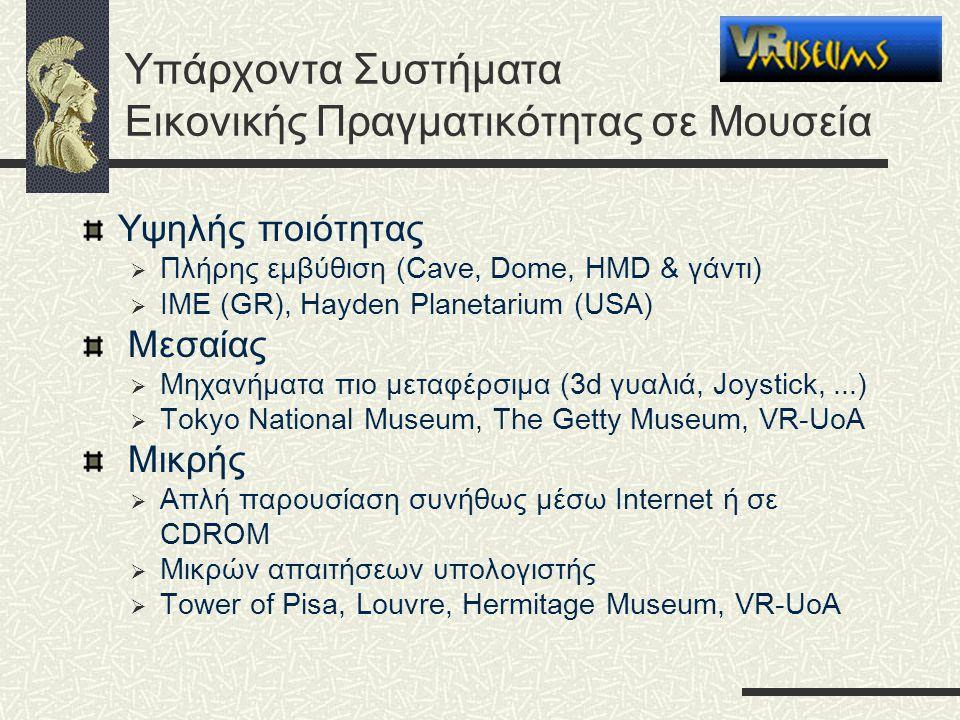 Υπάρχοντα Συστήματα Εικονικής Πραγματικότητας σε Μουσεία Υψηλής ποιότητας  Πλήρης εμβύθιση (Cave, Dome, HMD & γάντι)  ΙΜΕ (GR), Hayden Planetarium (