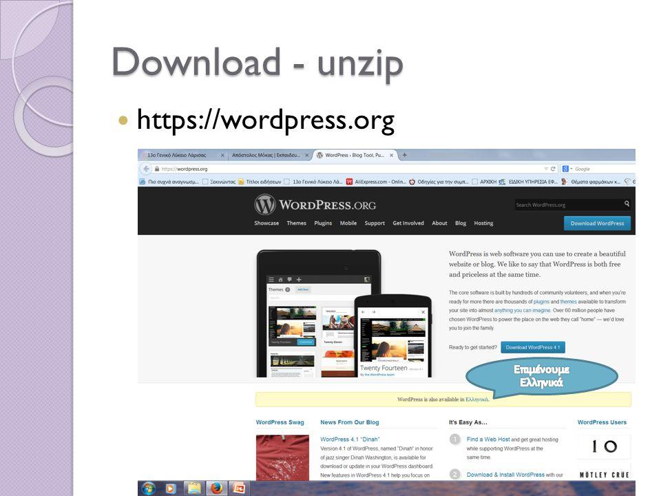 Download - unzip https://Wordpress.org