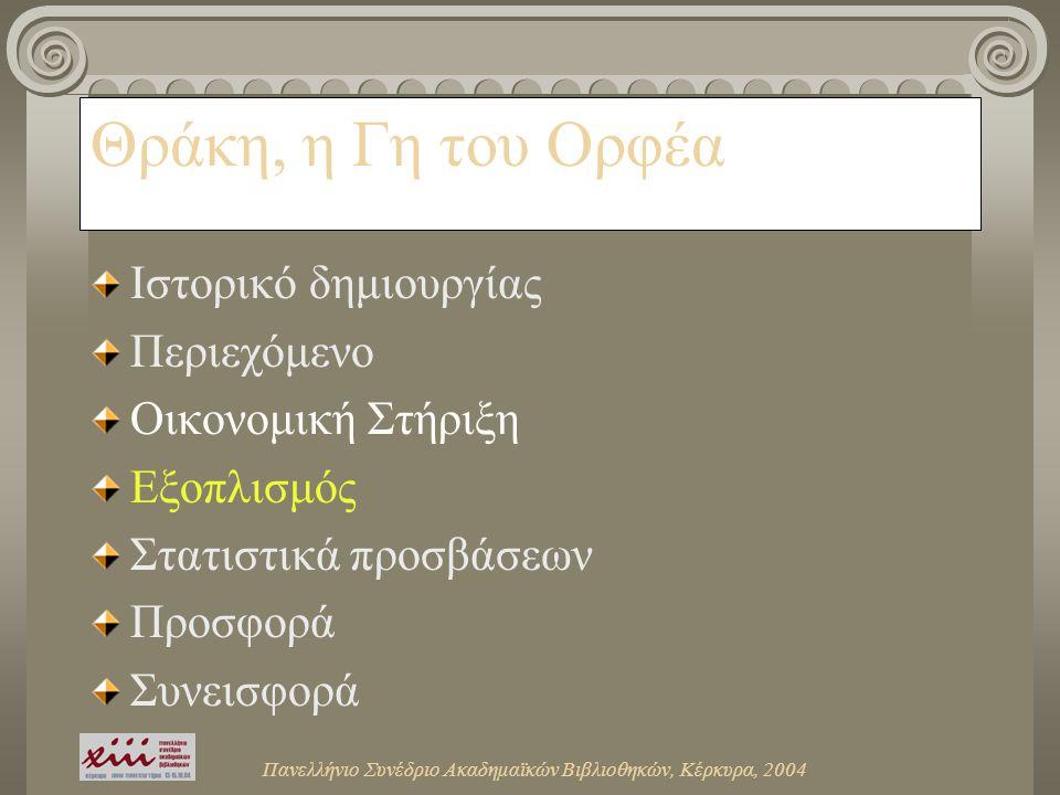 Θράκη, η Γη του Ορφέα Ιστορικό δημιουργίας Περιεχόμενο Οικονομική Στήριξη Εξοπλισμός Στατιστικά προσβάσεων Προσφορά Συνεισφορά