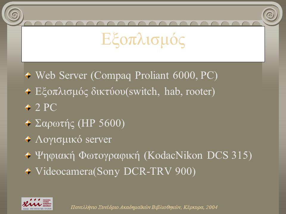 Πανελλήνιο Συνέδριο Ακαδημαϊκών Βιβλιοθηκών, Κέρκυρα, 2004 Eξοπλισμός Web Server (Compaq Proliant 6000, PC) Εξοπλισμός δικτύου(switch, hab, rooter) 2 PC Σαρωτής (HP 5600) Λογισμικό server Ψηφιακή Φωτογραφική (KodacNikon DCS 315) Videocamera(Sony DCR-TRV 900)