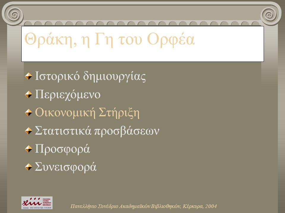 Πανελλήνιο Συνέδριο Ακαδημαϊκών Βιβλιοθηκών, Κέρκυρα, 2004 Θράκη, η Γη του Ορφέα Ιστορικό δημιουργίας Περιεχόμενο Οικονομική Στήριξη Στατιστικά προσβάσεων Προσφορά Συνεισφορά