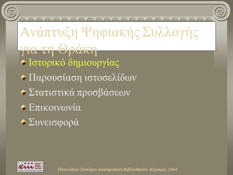 Πανελλήνιο Συνέδριο Ακαδημαϊκών Βιβλιοθηκών, Κέρκυρα, 2004 Ανάπτυξη Ψηφιακής Συλλογής για τη Θράκη Ιστορικό δημιουργίας Παρουσίαση ιστοσελίδων Στατιστικά προσβάσεων Επικοινωνία Συνεισφορά