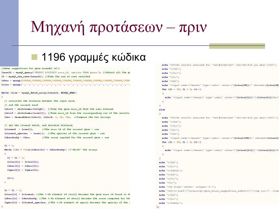 Μηχανή προτάσεων – πριν 1196 γραμμές κώδικα