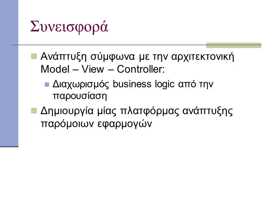 Συνεισφορά Ανάπτυξη σύμφωνα με την αρχιτεκτονική Model – View – Controller: Διαχωρισμός business logic από την παρουσίαση Δημιουργία μίας πλατφόρμας ανάπτυξης παρόμοιων εφαρμογών