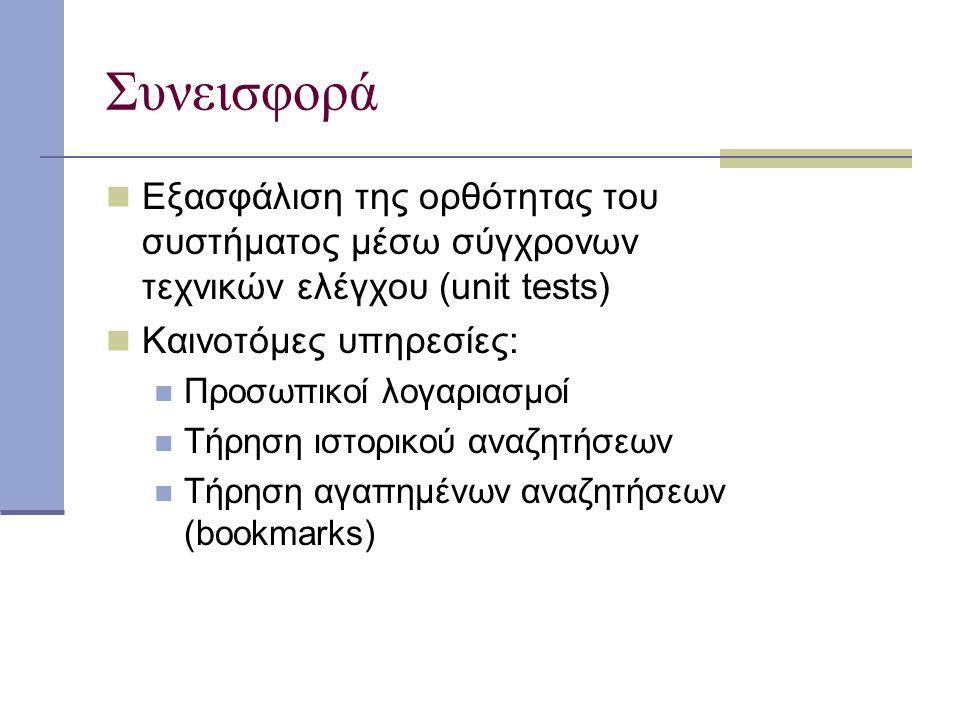 Συνεισφορά Εξασφάλιση της ορθότητας του συστήματος μέσω σύγχρονων τεχνικών ελέγχου (unit tests) Καινοτόμες υπηρεσίες: Προσωπικοί λογαριασμοί Τήρηση ιστορικού αναζητήσεων Τήρηση αγαπημένων αναζητήσεων (bookmarks)