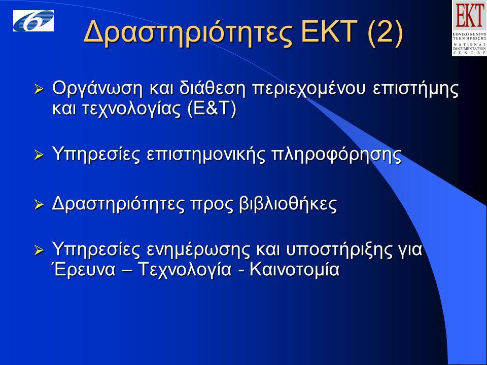 Δραστηριότητες ΕΚΤ (3) Υπηρεσίες επιστημονικής πληροφόρησης Ηλεκτρονικό Αναγνωστήριο Ψηφιακή Βιβλιοθήκη  Ελληνικές βάσεις δεδομένων  Εθνικό Αρχείο Διδακτορικών Διατριβών  Διεθνείς βάσεις δεδομένων  Ηλεκτρονικά περιοδικά  Επιλεγμένες πηγές στο Διαδίκτυο