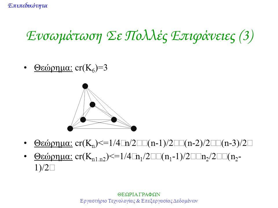 Επιπεδικότητα ΘΕΩΡΙΑ ΓΡΑΦΩΝ Εργαστήριο Τεχνολογίας & Επεξεργασίας Δεδομένων Ενσωμάτωση Σε Πολλές Επιφάνειες (3) Θεώρημα: cr(K 6 )=3 Θεώρημα: cr(K n )<