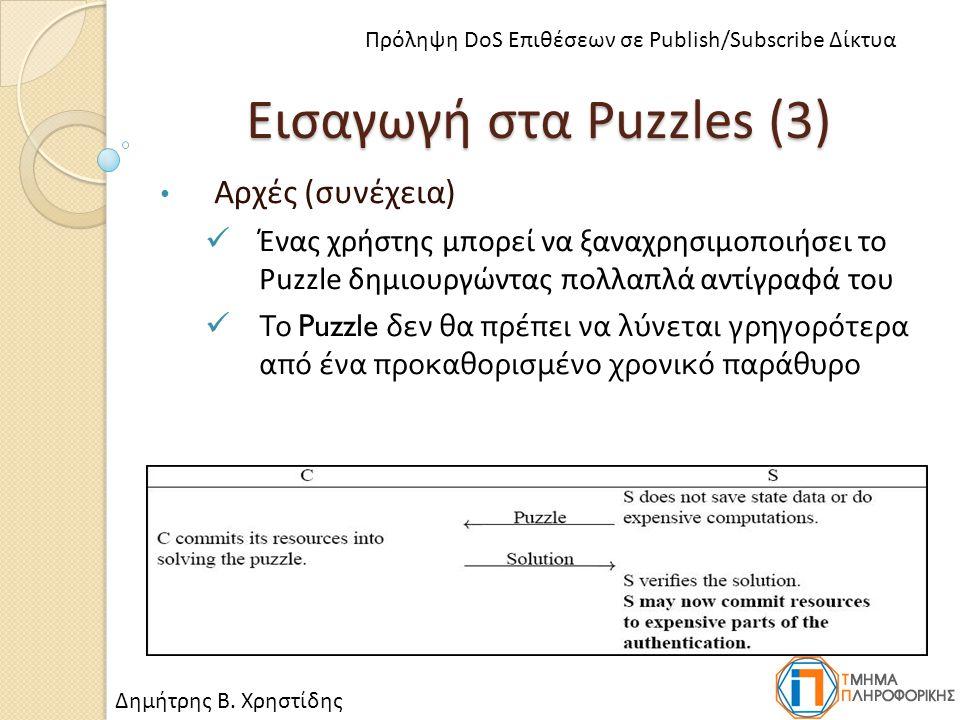 Εισαγωγή στα Puzzles (3) Αρχές (συνέχεια) Ένας χρήστης μπορεί να ξαναχρησιμοποιήσει το Puzzle δημιουργώντας πολλαπλά αντίγραφά του Το Puzzle δεν θα πρέπει να λύνεται γρηγορότερα από ένα προκαθορισμένο χρονικό παράθυρο Δημήτρης Β.