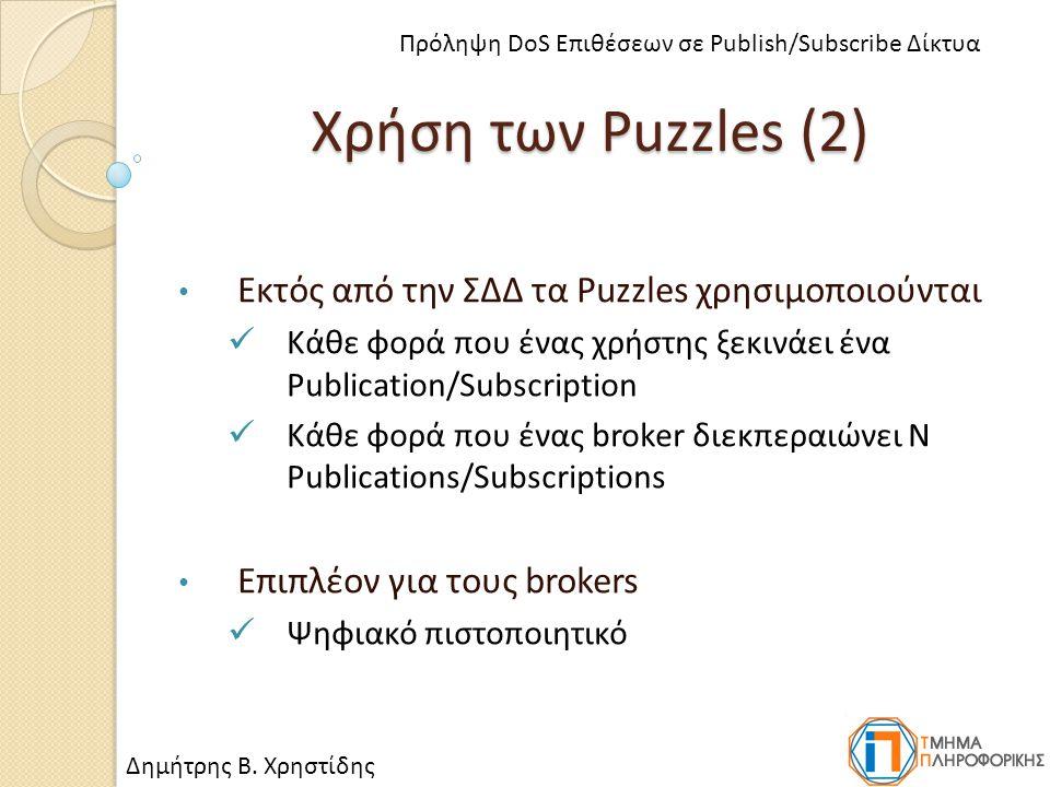 Χρήση των Puzzles (2) Εκτός από την ΣΔΔ τα Puzzles χρησιμοποιούνται Κάθε φορά που ένας χρήστης ξεκινάει ένα Publication/Subscription Κάθε φορά που ένας broker διεκπεραιώνει N Publications/Subscriptions Επιπλέον για τους brokers Ψηφιακό πιστοποιητικό Δημήτρης Β.