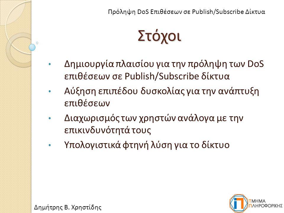Στόχοι Δημιουργία πλαισίου για την πρόληψη των DoS επιθέσεων σε Publish/Subscribe δίκτυα Αύξηση επιπέδου δυσκολίας για την ανάπτυξη επιθέσεων Διαχωρισμός των χρηστών ανάλογα με την επικινδυνότητά τους Υπολογιστικά φτηνή λύση για το δίκτυο Δημήτρης Β.
