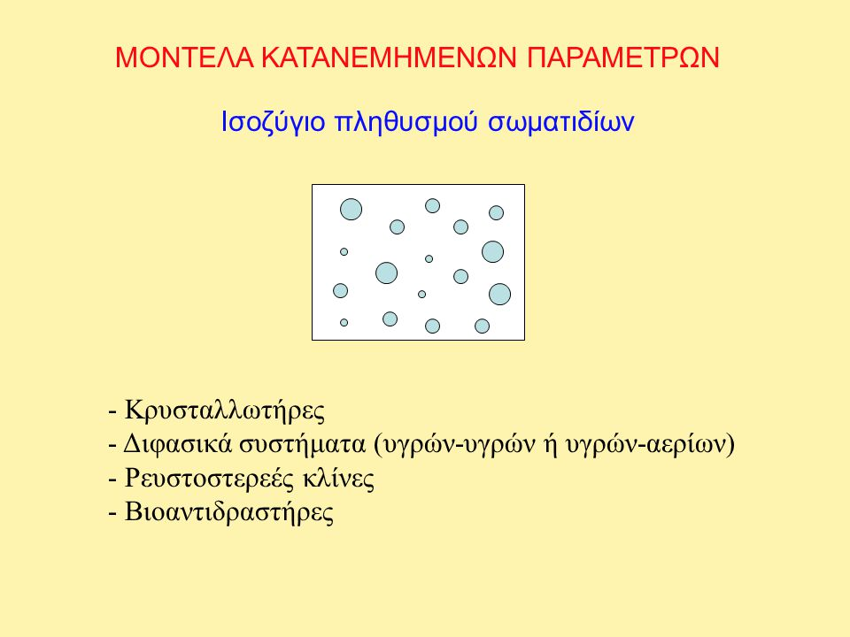 ΜΟΝΤΕΛΑ ΚΑΤΑΝΕΜΗΜΕΝΩΝ ΠΑΡΑΜΕΤΡΩΝ Ισοζύγιο πληθυσμού σωματιδίων - Κρυσταλλωτήρες - Διφασικά συστήματα (υγρών-υγρών ή υγρών-αερίων) - Ρευστοστερεές κλίνες - Βιοαντιδραστήρες