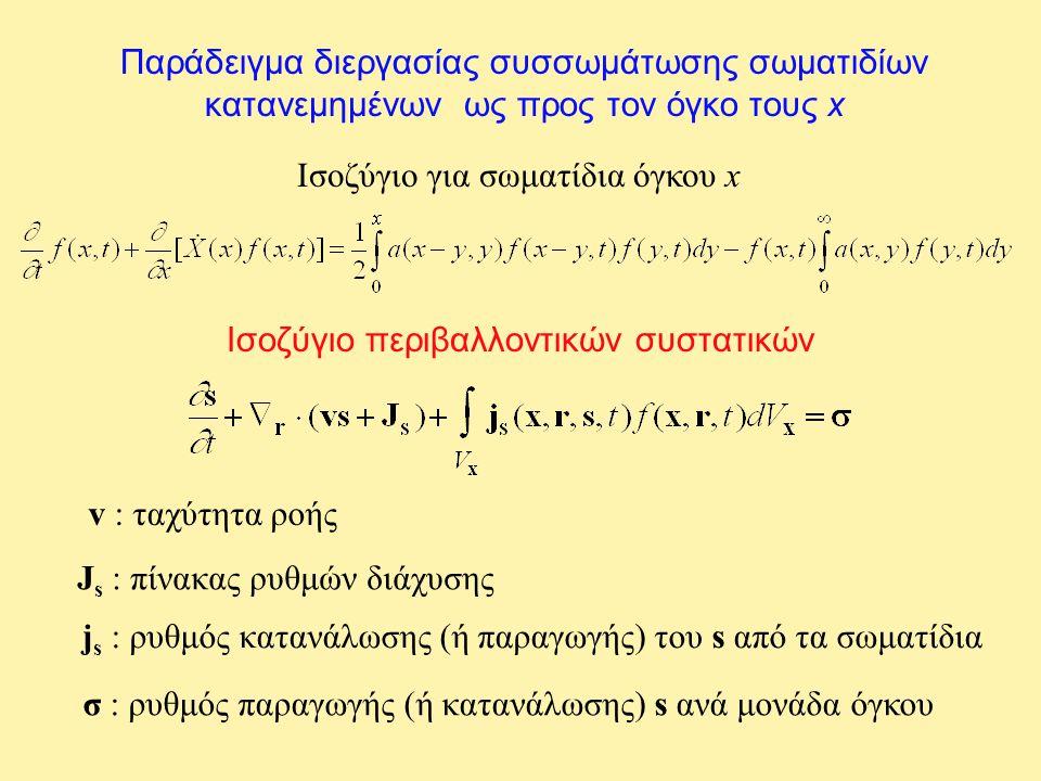 Παράδειγμα διεργασίας συσσωμάτωσης σωματιδίων κατανεμημένων ως προς τον όγκο τους x Ισοζύγιο για σωματίδια όγκου x Ισοζύγιο περιβαλλοντικών συστατικών v : ταχύτητα ροής J s : πίνακας ρυθμών διάχυσης j s : ρυθμός κατανάλωσης (ή παραγωγής) του s από τα σωματίδια σ : ρυθμός παραγωγής (ή κατανάλωσης) s ανά μονάδα όγκου