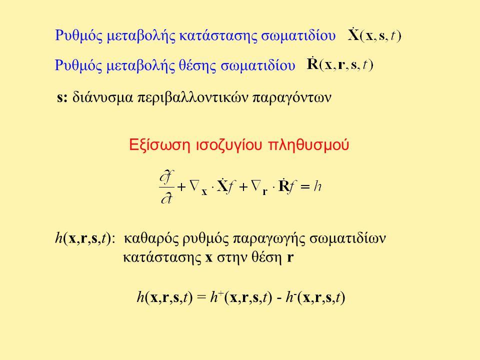 Ρυθμός μεταβολής κατάστασης σωματιδίου Ρυθμός μεταβολής θέσης σωματιδίου s: διάνυσμα περιβαλλοντικών παραγόντων Εξίσωση ισοζυγίου πληθυσμού h(x,r,s,t): καθαρός ρυθμός παραγωγής σωματιδίων κατάστασης x στην θέση r h(x,r,s,t) = h + (x,r,s,t) - h - (x,r,s,t)