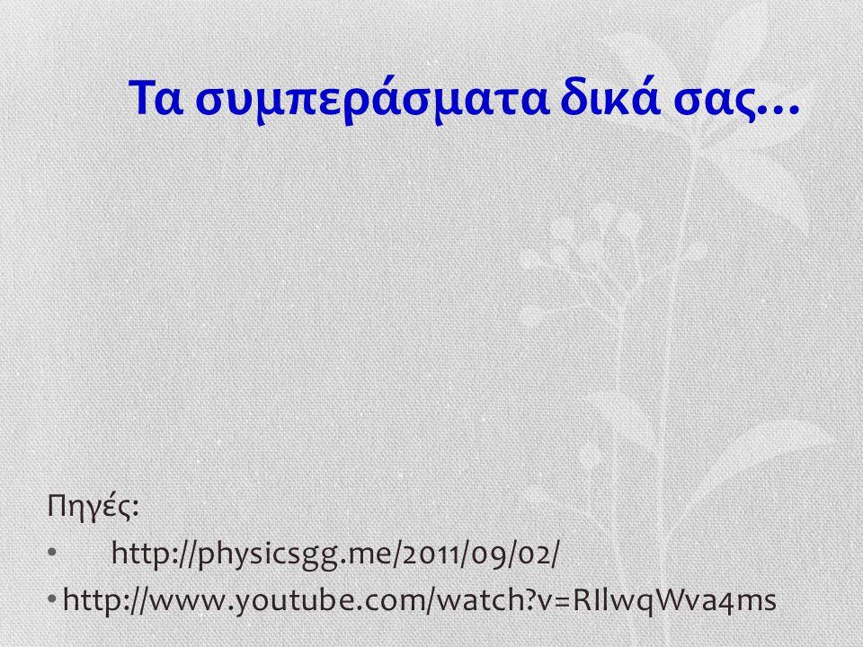 Τα συμπεράσματα δικά σας… Πηγές: http://physicsgg.me/2011/09/02/ http://www.youtube.com/watch v=RIlwqWva4ms