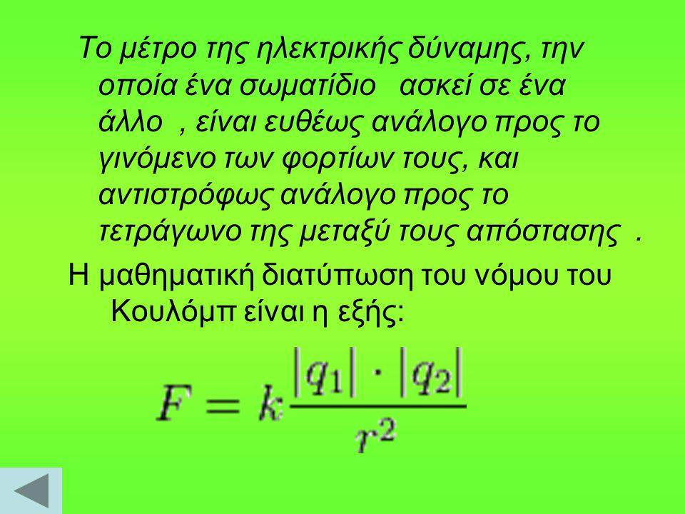 Το μέτρο της ηλεκτρικής δύναμης, την οποία ένα σωματίδιο ασκεί σε ένα άλλο, είναι ευθέως ανάλογο προς το γινόμενο των φορτίων τους, και αντιστρόφως αν