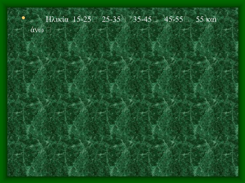 Ηλικία 15-25 25-35 35-45 45-55 55 και άνω