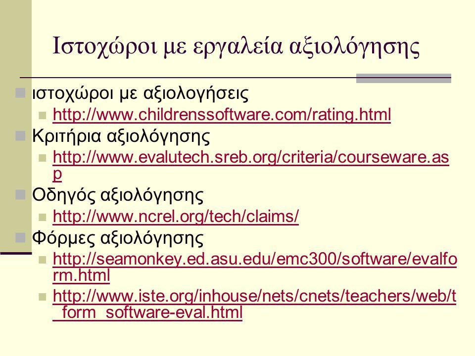 Ιστοχώροι με εργαλεία αξιολόγησης ιστοχώροι με αξιολογήσεις http://www.childrenssoftware.com/rating.html Κριτήρια αξιολόγησης http://www.evalutech.sreb.org/criteria/courseware.as p http://www.evalutech.sreb.org/criteria/courseware.as p Οδηγός αξιολόγησης http://www.ncrel.org/tech/claims/ Φόρμες αξιολόγησης http://seamonkey.ed.asu.edu/emc300/software/evalfo rm.html http://seamonkey.ed.asu.edu/emc300/software/evalfo rm.html http://www.iste.org/inhouse/nets/cnets/teachers/web/t _form_software-eval.html http://www.iste.org/inhouse/nets/cnets/teachers/web/t _form_software-eval.html