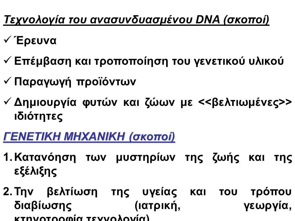 Τεχνολογία του ανασυνδυασμένου DNA (σκοποί) Έρευνα Επέμβαση και τροποποίηση του γενετικού υλικού Παραγωγή προϊόντων Δημιουργία φυτών και ζώων με > ιδιότητες ΓΕΝΕΤΙΚΗ ΜΗΧΑΝΙΚΗ (σκοποί) 1.Κατανόηση των μυστηρίων της ζωής και της εξέλιξης 2.Την βελτίωση της υγείας και του τρόπου διαβίωσης (ιατρική, γεωργία, κτηνοτροφία,τεχνολογία).