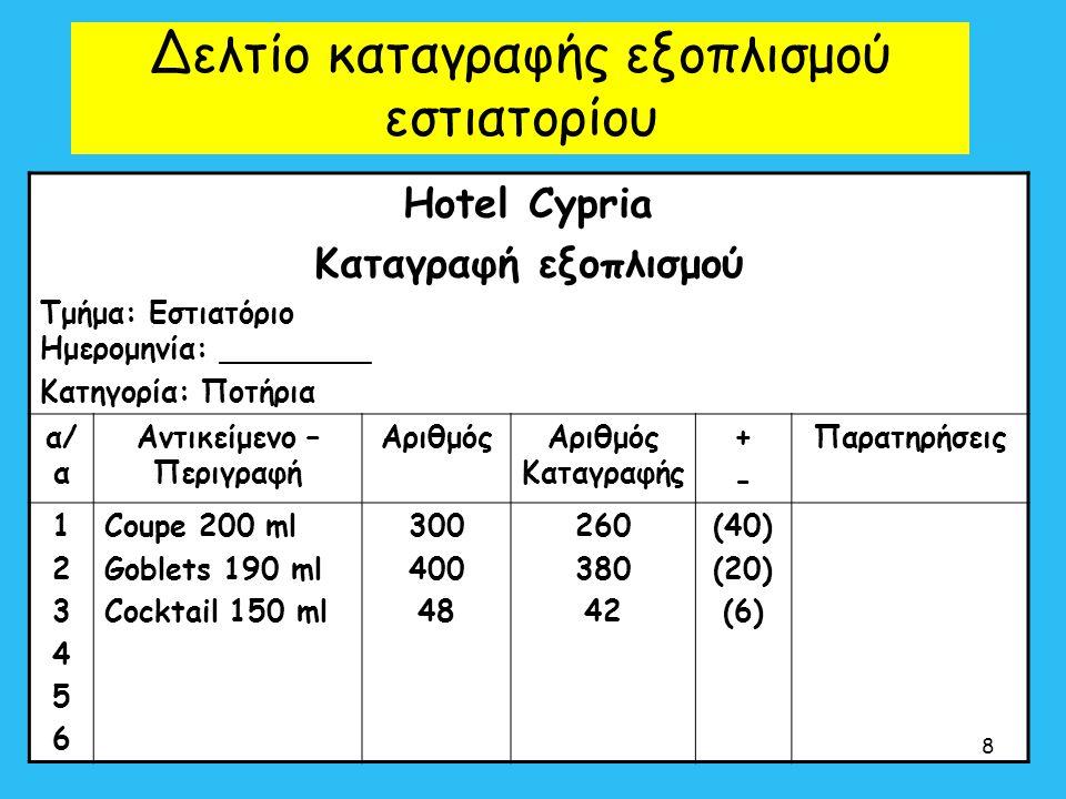 Δελτίο καταγραφής εξοπλισμού εστιατορίου Hotel Cypria Καταγραφή εξοπλισμού Τμήμα: Εστιατόριο Ημερομηνία: ________ Κατηγορία: Ποτήρια α/ α Αντικείμενο