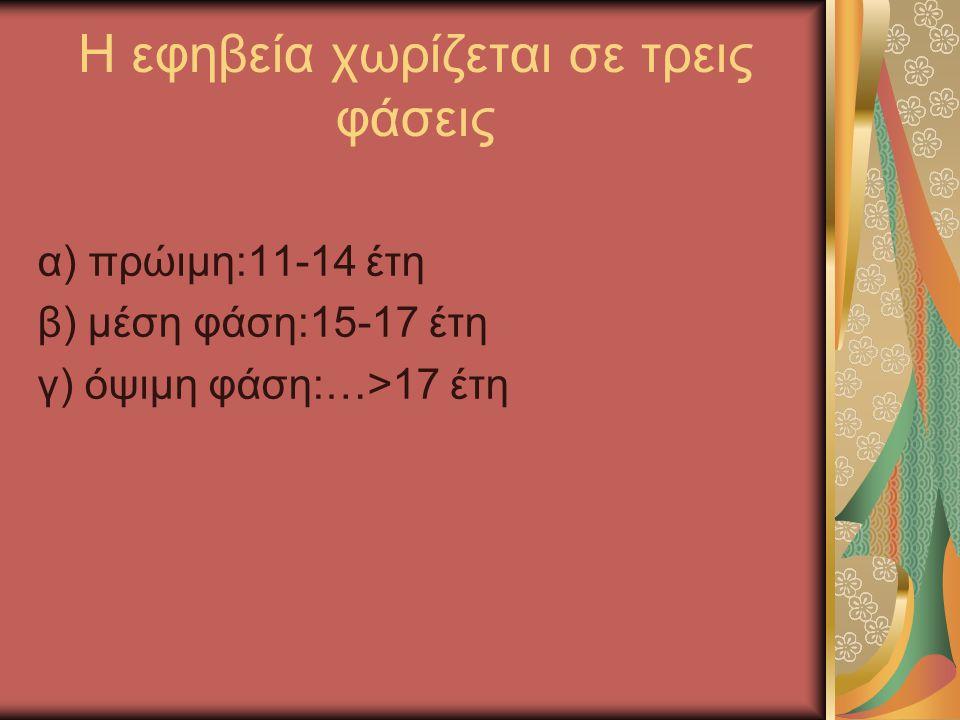 Η εφηβεία χωρίζεται σε τρεις φάσεις α) πρώιμη:11-14 έτη β) μέση φάση:15-17 έτη γ) όψιμη φάση:…>17 έτη