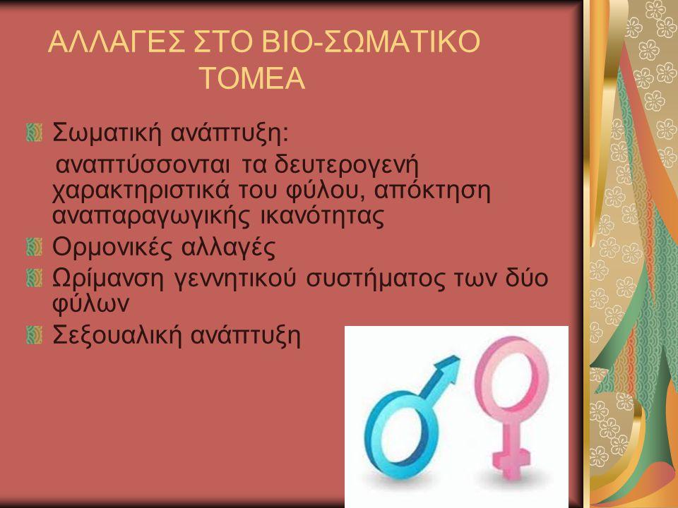 ΑΛΛΑΓΕΣ ΣΤΟ ΒΙΟ-ΣΩΜΑΤΙΚΟ ΤΟΜΕΑ Σωματική ανάπτυξη: αναπτύσσονται τα δευτερογενή χαρακτηριστικά του φύλου, απόκτηση αναπαραγωγικής ικανότητας Ορμονικές αλλαγές Ωρίμανση γεννητικού συστήματος των δύο φύλων Σεξουαλική ανάπτυξη